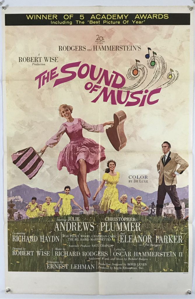 "U.S. One Sheet (27"" x 41"")  Sound of Music, 1963 Condition: Very Good Price: $575.00 USD Ships flat: $7.00 USD"